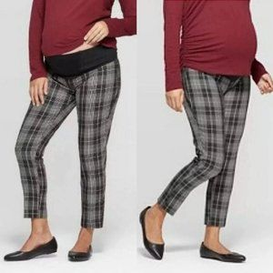 Maternity Plaid Crossover Panel Stretchy Pants NWT